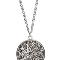 Silver-Colored Flower Pendant With Rhinestones - Silver