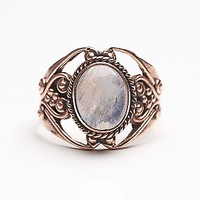 Tiger Mountain Womens Moonstone Engraved Ring