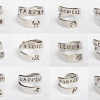 Personalized Zodiac Ring - Personalized Ring - Custom Ring - Handstamped Ring - Astrology Ring -Adjustable Ring - Astrological Gift