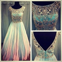 Long scoop backless beaded prom dress/ long prom dress 2014