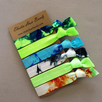 The Tyler  Tie Dye Hair Tie Collection  6 Hand Dyed Hair Ties by ElasticHairBandz on Etsy