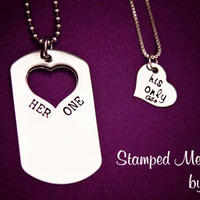Her One, His Only Dog Tag Set - The Original - Hand Stamped Couples Jewelry - Necklace Set - Custom Made - Gift for Couple, Newlyweds