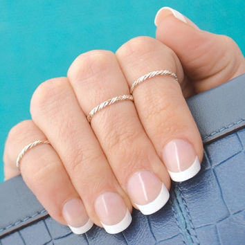 Christmas In July Midi Ring - Knuckle Ring - Two Toned Twist Ring - Stacker Ring -  Twist Ring - Gold Filled - Argentium Sterling Silver