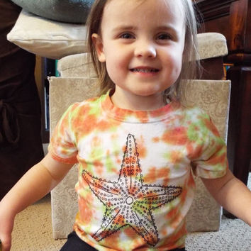Starfish Shirt- Size 2T Tie Dye with Sea Star- Toddler Beach Shirt- Ocean Birthday Gift- Star Fish Toddler Tee- Toddler Tie Dye