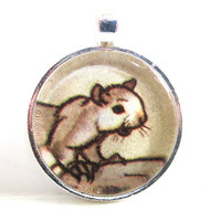 Squirrel Illustration Pendant from Vintage Children's Book, in Glass Tile Circle