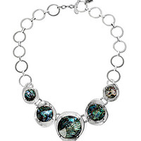 Robert Lee Morris Soho Abalone Faceted Bead Sculptural Frontal Necklac