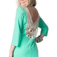 Karlie Women's Mint with Lace Scoop Back 3/4 Sleeve Dress