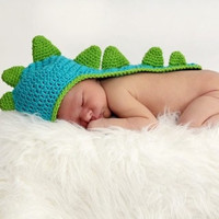 Newborn Baby Dinosaur Crochet Hat With Tail Photo Prop by LuvKnotz
