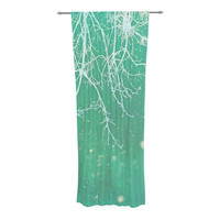 "Alison Coxon ""White Branches"" Teal Decorative Sheer Curtain"