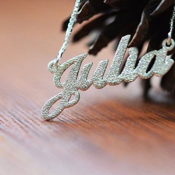 Sparling Diamond Cut Sterling Silver Name Necklace