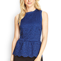 LOVE 21 Floral Lace Peplum Top Navy