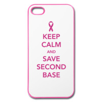 Breast Cancer Keep Calm and Save Second Base iPhone Case
