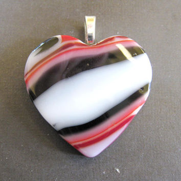 Glass Heart Pendant, Large Heart Jewelry, Red, Black and White Glass - Intrigue - Love