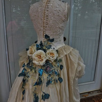 RESERVED to Yaya Handmade Wedding Dress Mini Plus Tail Beige Roses Embroidered Appliques Size 8