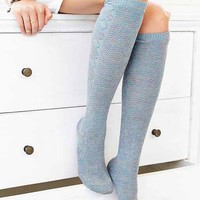 Marled Cable Knee-High Sock- Green One