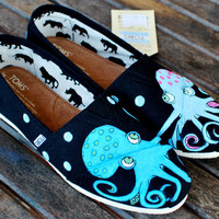 Black Classic Octopus in Love TOMS shoes by BStreetShoes on Etsy