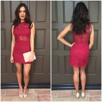 Mystery Red Lace Dress