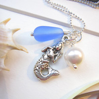 Sea glass Mermaid Necklace in Light Blue - Mermaid Bridesmaids seaglass pendants - FREE SHIPPING