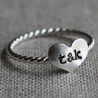 true love ring - sterling silver and stamped with your initials