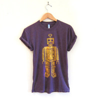 Quizzlezort the Robot Crew Neck Hand Stenciled Slouchy Rolled Cuffs Tee in Heather Plum - S M L XL 2XL 3XL