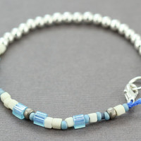 Silver Bracelet : Blue and Silver Beaded Friendship Bracelet, Navy Cotton Cord, Silver Plated Beads, Mix, Random, Simple, Minimal
