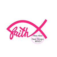 4 in x 2 in Faith Jesus Fish Car Window Decal - Christian Fish - Gift for Sorority Sister, Mom, Friend, CYO, Young Life