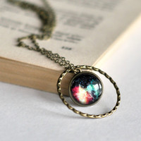 Colorful Galaxy Round Statement Necklace, Small Resin Space Pendant