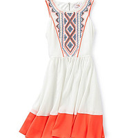 GB Girls 7-16 Colorblock Embroidered Dress - Ivory