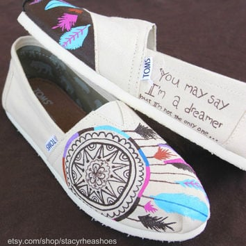 Dreamcatcher TOMS with Imagine Lyric by StacyRheaShoes on Etsy