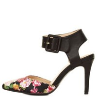 Black Multi Pointed Floral Print D'Orsay Pumps by Charlotte Russe