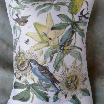 Birds and Bees Botanic Pillow using vintage prints