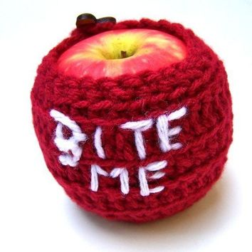 Bite Me Apple Jacket Cozy handmade by KnotworkShop on Etsy