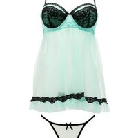 Mesh & Lace Chemise & Thong Set by Charlotte Russe