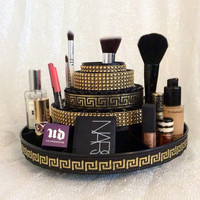 Rotating Makeup Brush Organizer with Storage for Accessories - in Black and Gold