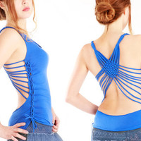 Unique open back top with an intricate back detail olive, blue, black, red, grey, brown colors