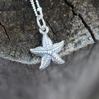 Starfish Necklace - Sterling Silver Starfish Charm . Sterling Silver Chain . Beach and Summer . Wedding and Bridal