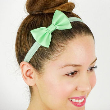 Mint Baby Headband Women's Hair Accessories Girls Headband Elastic Bow Mint Bow Headband Mint Women's Headband Baby Hair Bows Blue Green Bow