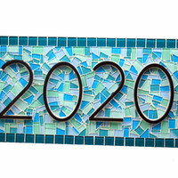 Mosaic House Number Sign In Teal and Blue