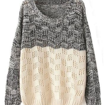 Sheinside Women's Black Beige Long Sleeve Geo Pattern Sweater (Free Size)