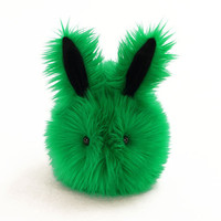 Emerald Bunny Stuffed Toy  Green Faux Fur Plushie Large Size
