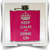 Keep Calm and Drink On Whiskey Flask Crown Bride by LiquidCourage