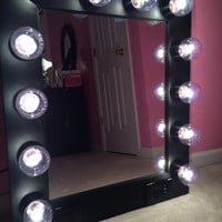 FREE Shipping! Vanity Mirror with Lights-Available Built in Digital LED Brightness Control and Power Outlet- Just Plug it in