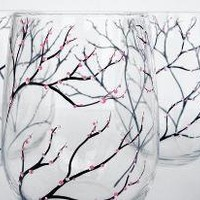 Spring Cherry Blossom Stemless Wine Glasses Set of 4 by marywibis