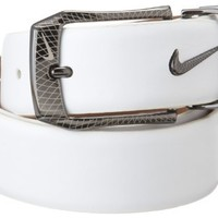 NIKE Golf Laser Etched Belt and Buckle (White, 34)