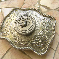 Marine Silver Concho Belt Buckle, Western Womens Mens Engraved Military Belt Buckle, USMC Wife Girlfriend ,Marine Corps, Groomsmen Gift