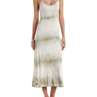 Green Combo Braided Cage Tie-Dye Maxi Dress by Charlotte Russe