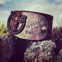 ANGELS LOVE OUTLAWS vintage leather belt cuff by DirtRoadGirls