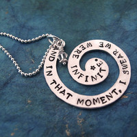 And In That Moment, I Swear We Were Infinite Necklace Hand Stamped Necklace The Perks of Being a Wallflower