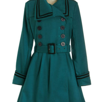 ModCloth Vintage Inspired Long Long Sleeve Double Breasted A Welcomed Moment Coat in Teal