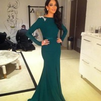 Evening Dress Prom Gown Mermaid Party Formal Dress Royal Green Long Sleeve Dress